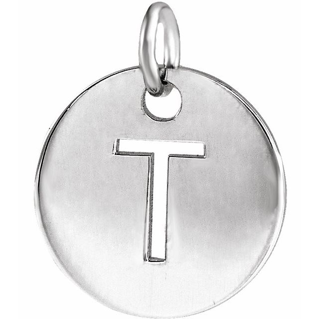 Sterling Silver Initial T 10 mm Disc Pendant