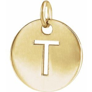 18K Yellow Gold-Plated Sterling Silver Initial T 10 mm Disc Pendant