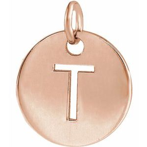 18K Rose Gold-Plated Sterling Silver Initial T 10 mm Disc Pendant