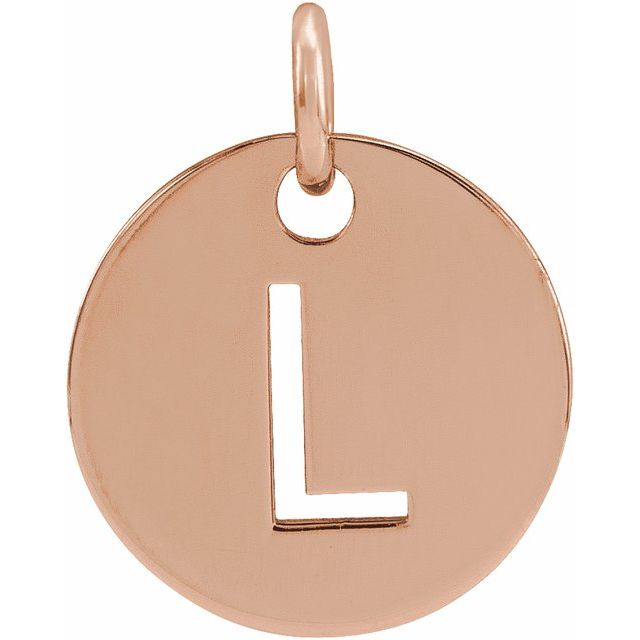 18K Rose Gold-Plated Sterling Silver Initial L 10 mm Disc Pendant