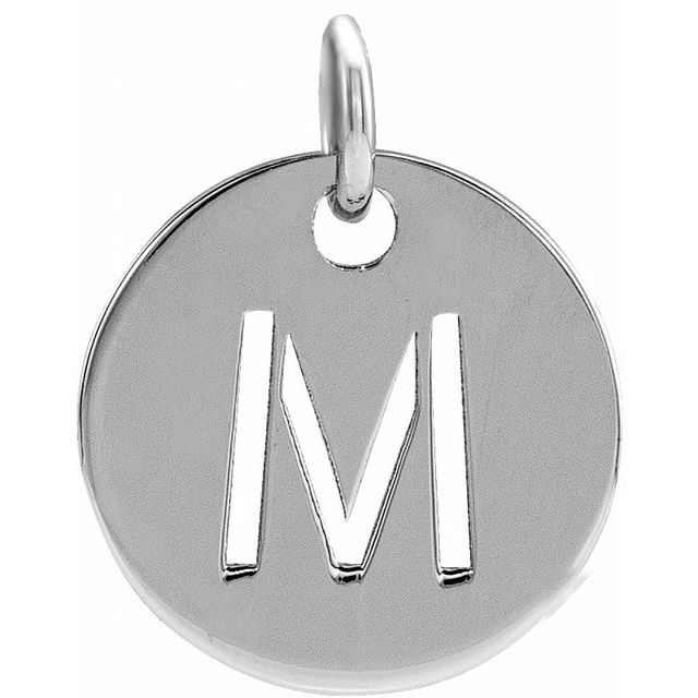 Sterling Silver Initial M 10 mm Disc Pendant