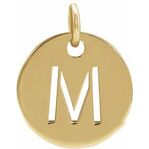 14K Yellow Initial M 10 mm Disc Pendant