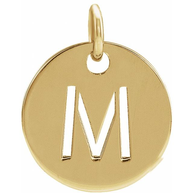 18K Yellow Gold-Plated Sterling Silver Initial M 10 mm Disc Pendant