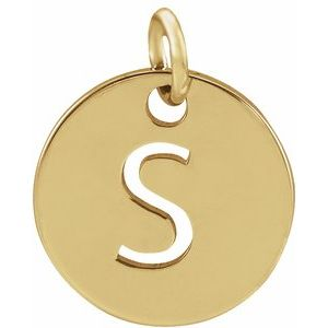 18K Yellow Gold-Plated Sterling Silver Initial S 10 mm Disc Pendant