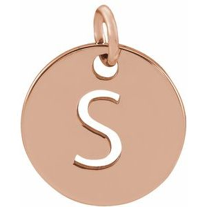 18K Rose Gold-Plated Sterling Silver Initial S 10 mm Disc Pendant