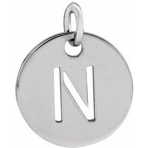 Sterling Silver Initial N 10 mm Disc Pendant