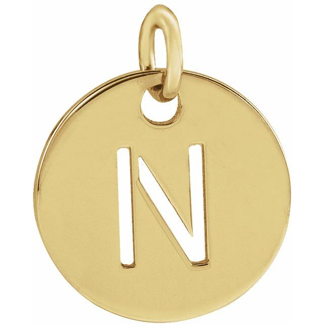 18K Yellow Gold-Plated Sterling Silver Initial N 10 mm Disc Pendant