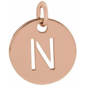18K Rose Gold-Plated Sterling Silver Initial N 10 mm Disc Pendant