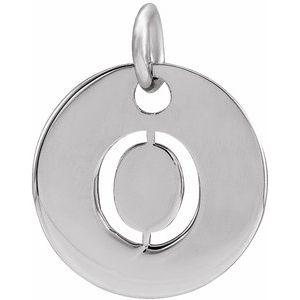 Sterling Silver Initial O 10 mm Disc Pendant