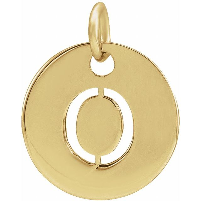 18K Yellow Gold-Plated Sterling Silver Initial O 10 mm Disc Pendant