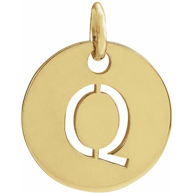 18K Yellow Gold-Plated Sterling Silver Initial Q 10 mm Disc Pendant
