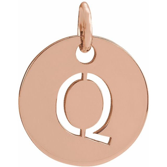 18K Rose Gold-Plated Sterling Silver Initial Q 10 mm Disc Pendant