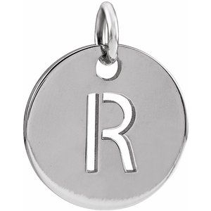 Sterling Silver Initial R 10 mm Disc Pendant