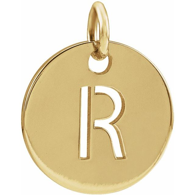 18K Yellow Gold-Plated Sterling Silver Initial R 10 mm Disc Pendant
