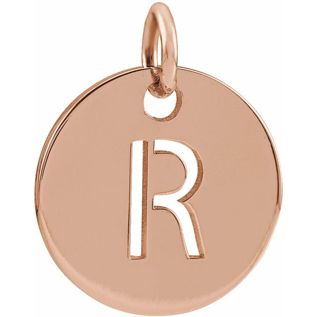 18K Rose Gold-Plated Sterling Silver Initial R 10 mm Disc Pendant