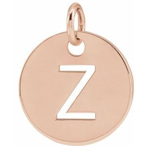 18K Rose Gold-Plated Sterling Silver Initial Z 10 mm Disc Pendant