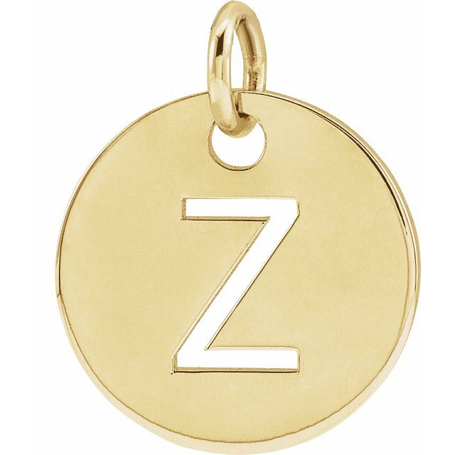 18K Yellow Gold-Plated Sterling Silver Initial Z 10 mm Disc Pendant