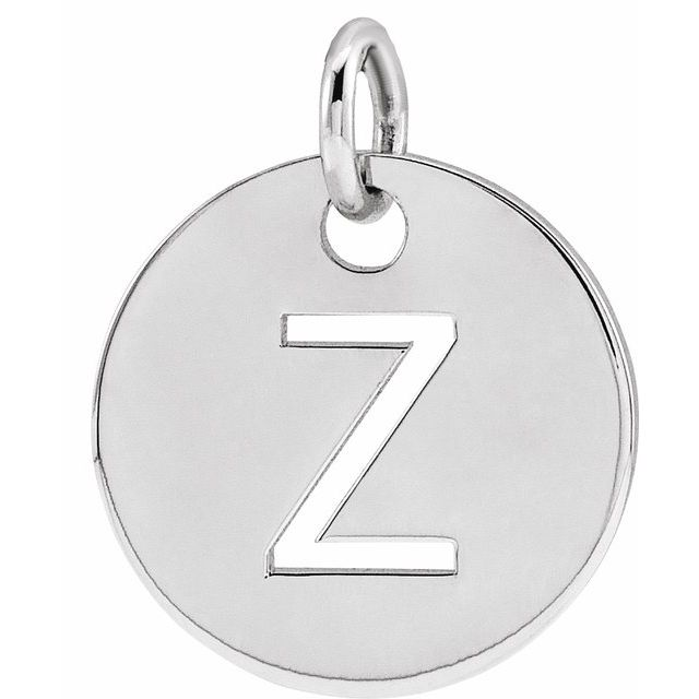 Sterling Silver Initial Z 10 mm Disc Pendant