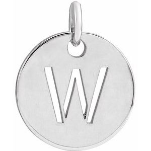Sterling Silver Initial W 10 mm Disc Pendant