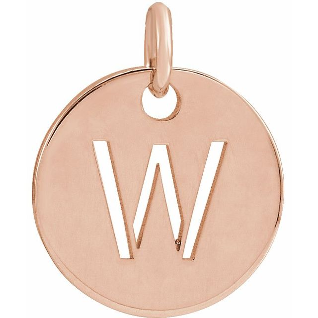 18K Rose Gold-Plated Sterling Silver Initial W 10 mm Disc Pendant