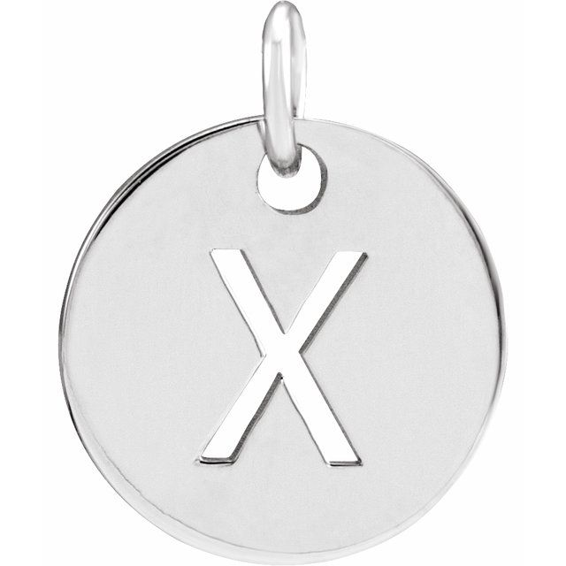 Sterling Silver Initial X 10 mm Disc Pendant