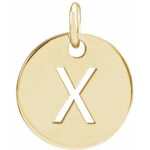 18K Yellow Gold-Plated Sterling Silver Initial X 10 mm Disc Pendant