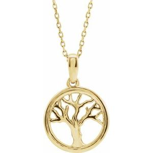 "14K Yellow Tree of Life 16-18"" Necklace"