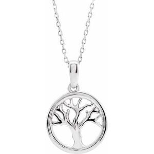 """14K White Tree of Life 16-18"""" Necklace"""