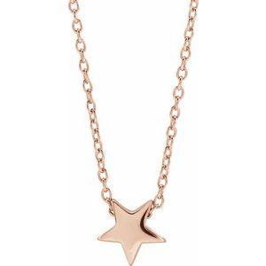 """14K Rose Star 16-18"""" Necklace"""