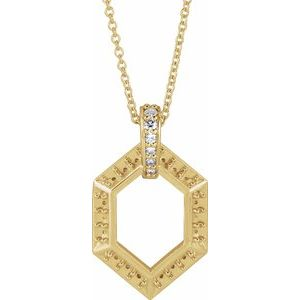 "14K Yellow 6-Stone Groups .06 CTW Diamond Semi-Set Family 16-18"" Necklace"