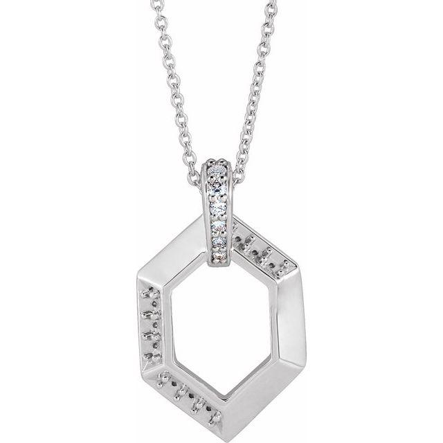 """14K White 3-Stone Groups .06 CTW Diamond Semi-Set Family 16-18"""" Necklace"""