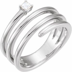 14K White 1/10 CTW Diamond Freeform Ring