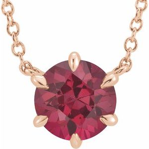 """14K Rose Ruby Solitaire 16"""" Necklace"""