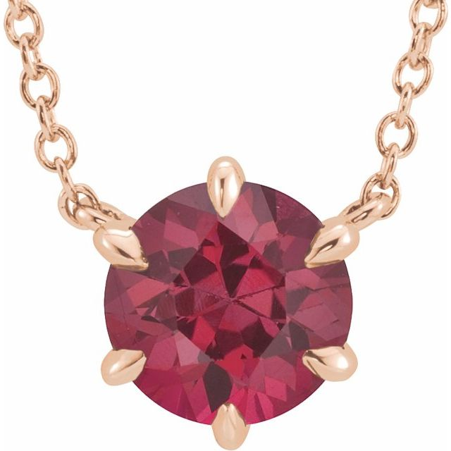 14K Rose Ruby Solitaire 16