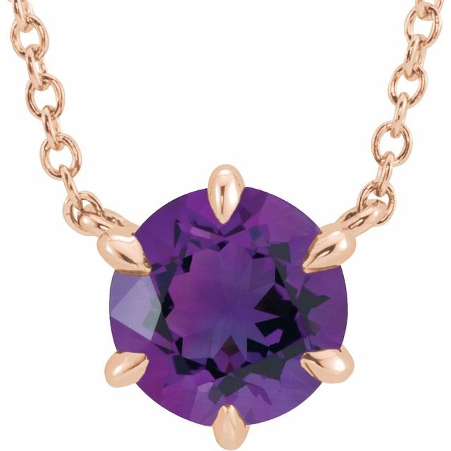 14K Rose Amethyst Solitaire 18