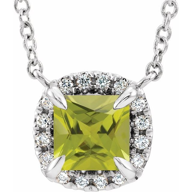 14K White 3x3 mm Square Peridot & .05 CTW Diamond 18