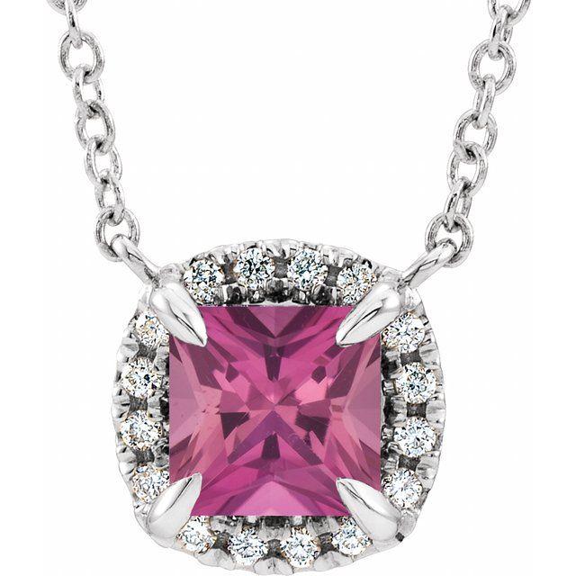 14K White 3x3 mm Square Pink Tourmaline & .05 CTW Diamond 18