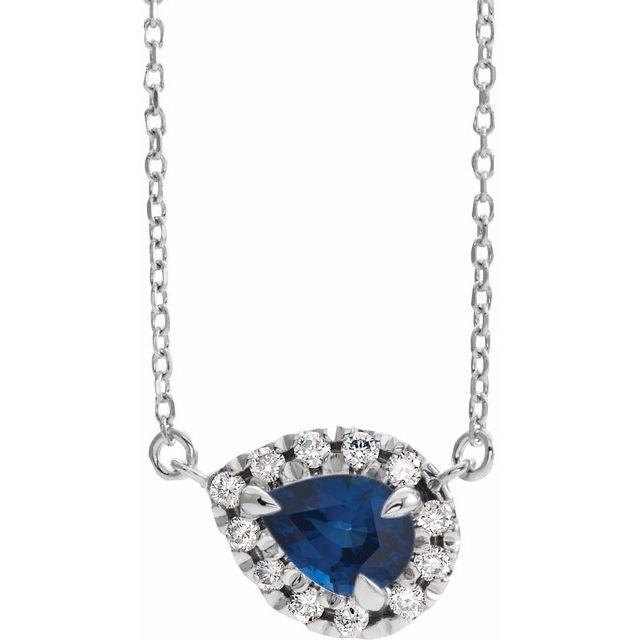 "14K White 8x5 mm Pear Blue Sapphire & 1/5 CTW Diamond 18"" Necklace"