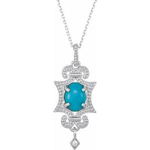 """Sterling Silver Turquoise & .015 CTW Diamond 18"""" Necklace"""