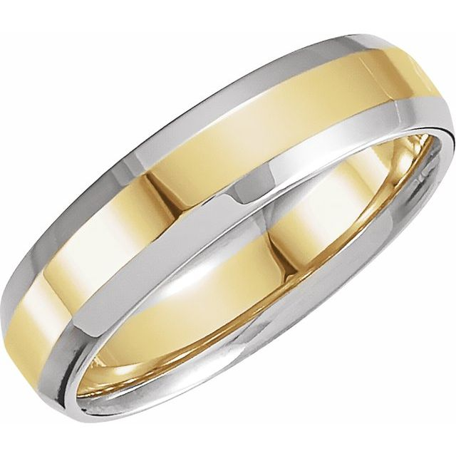 14K White/Yellow 6 mm Beveled-Edge Comfort-Fit Band Size 7.5