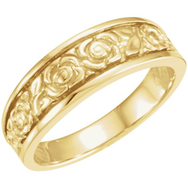 14K Yellow 6 mm Floral Band