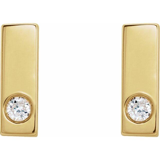 14K Yellow .03 CTW Diamond Bar Earring