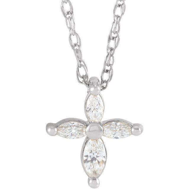 14K White 1/6 CTW Diamond Marquise Cross 18