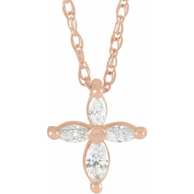 14K Rose 1/6 CTW Diamond Marquise Cross 18