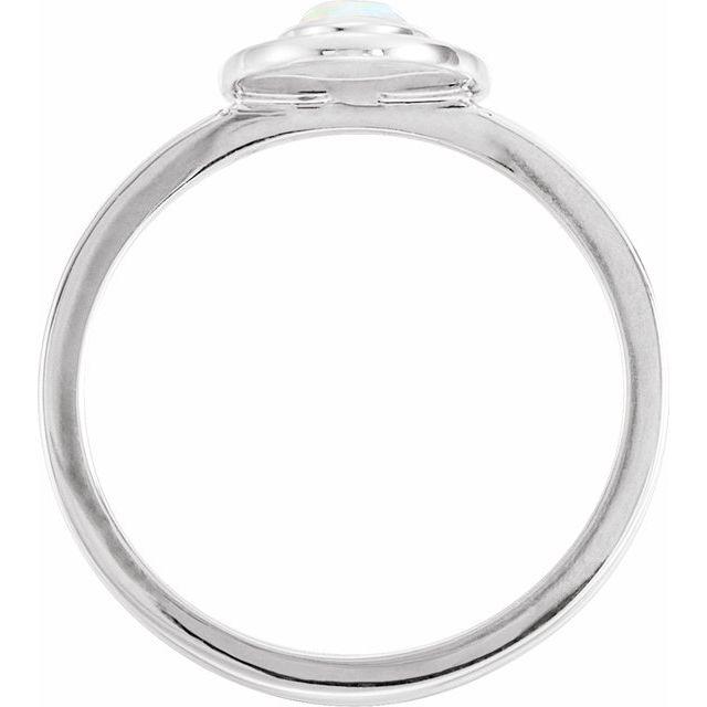 14K White Opal & .08 CTW Diamond Halo-Style Ring