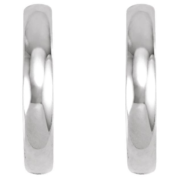 14K White 17.5 mm Hinged Hoop Earrings
