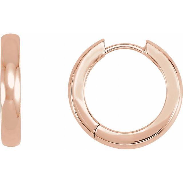 14K Rose 17.5 mm Hinged Hoop Earrings