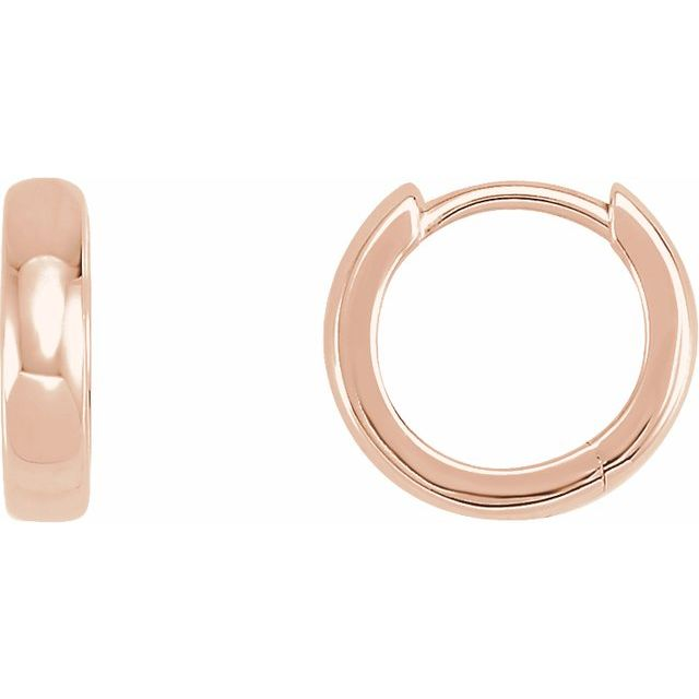 14K Rose 11.5 mm Hinged Huggie Earrings