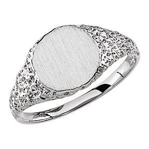 Sterling Silver 9 mm Round Signet Ring