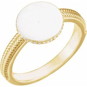 14K Yellow .07 CTW Diamond 10 mm Round Signet Ring
